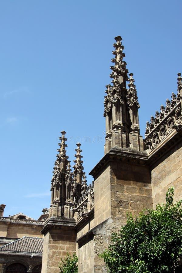 A catedral gótico da encarnação em Granada, os detalhes arquitetónicos Andalucia spain europa fotografia de stock royalty free