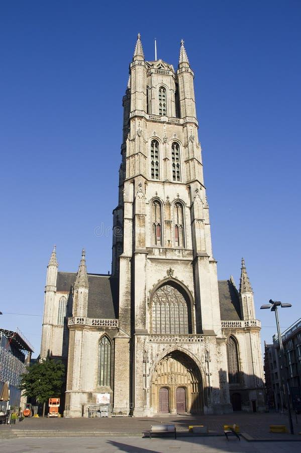 Catedral Gante de Bavo del santo imágenes de archivo libres de regalías