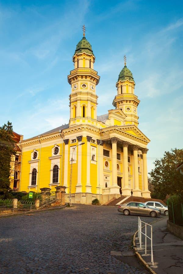 Catedral Griego-católica en luz de la tarde fotografía de archivo