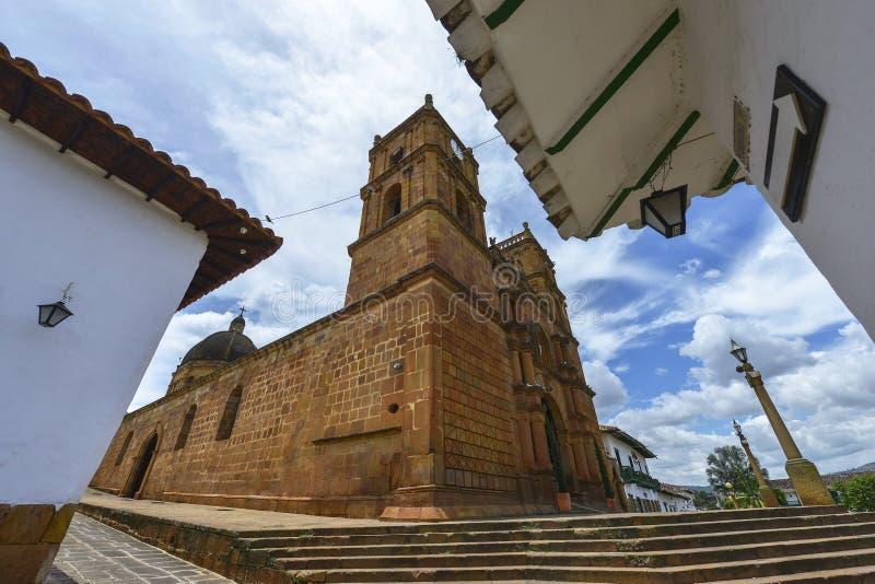 Catedral Inmaculada Concepción em Barichara, Colômbia fotografia de stock royalty free