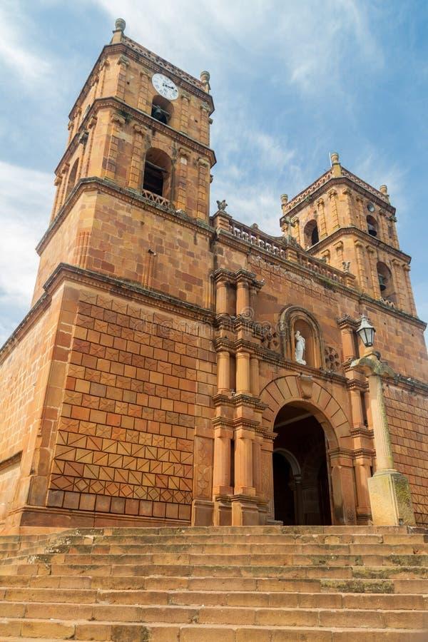 Catedral Inmaculada Concepción na vila de Barichara fotos de stock royalty free