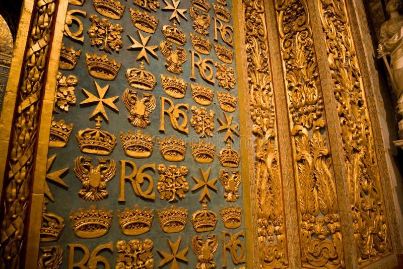 Catedral interior de St John, Valletta imagem de stock royalty free