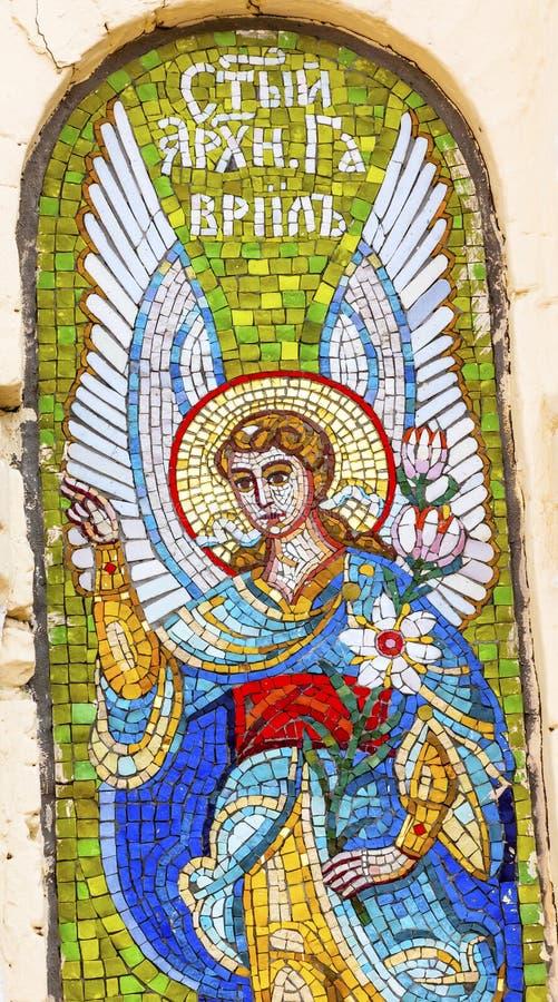 Catedral Kiev Ucrânia de Angel Mosaic Holy Assumption Lavra imagem de stock