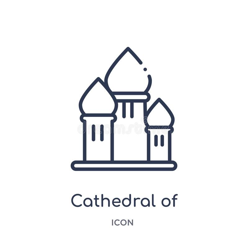 Catedral linear del icono de la albahaca del santo de la colección del esquema de los edificios Línea fina catedral de vector de  ilustración del vector