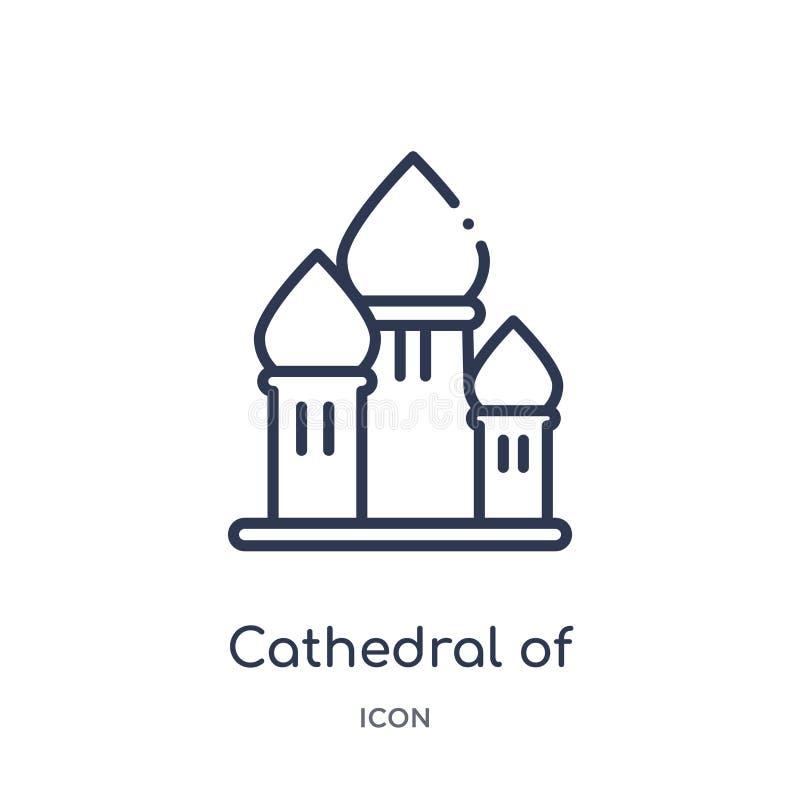 Catedral linear do ícone da manjericão de Saint da coleção do esboço das construções Linha fina catedral de vetor da manjericão d ilustração do vetor
