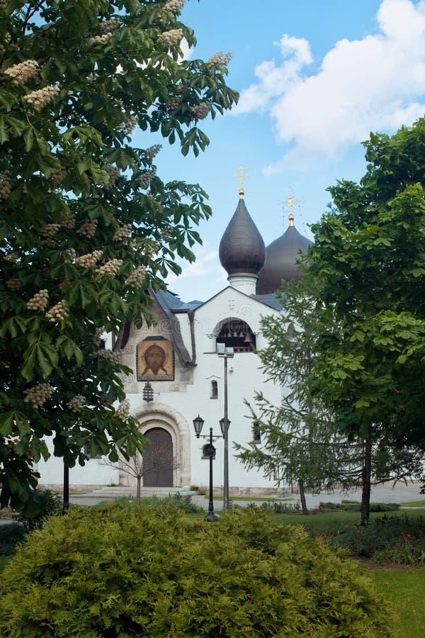 Catedral Martha e Mary Convent de Pokrovsky A fachada ocidental fotografia de stock royalty free