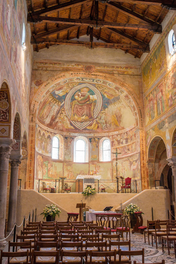 Catedral medieval de Chioggia, monumentos dos fresco, em agosto de 2016 fotografia de stock