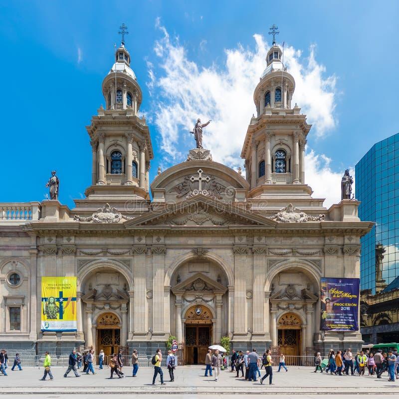 Catedral Metropolitana De Santiago sur Plaza de Armas, Chili image libre de droits