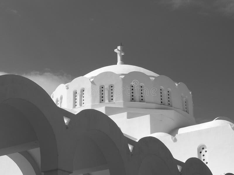 Catedral metropolitana ortodoxa en Fira Santorini Grecia imagen de archivo libre de regalías