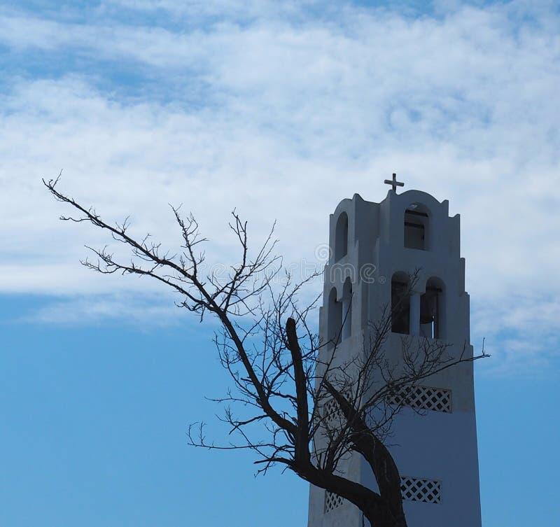 Catedral metropolitana ortodoxa en Fira Santorini Grecia fotografía de archivo