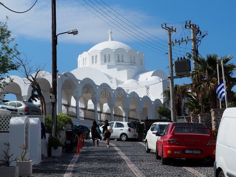Catedral metropolitana ortodoxa en Fira Santorini Grecia imágenes de archivo libres de regalías