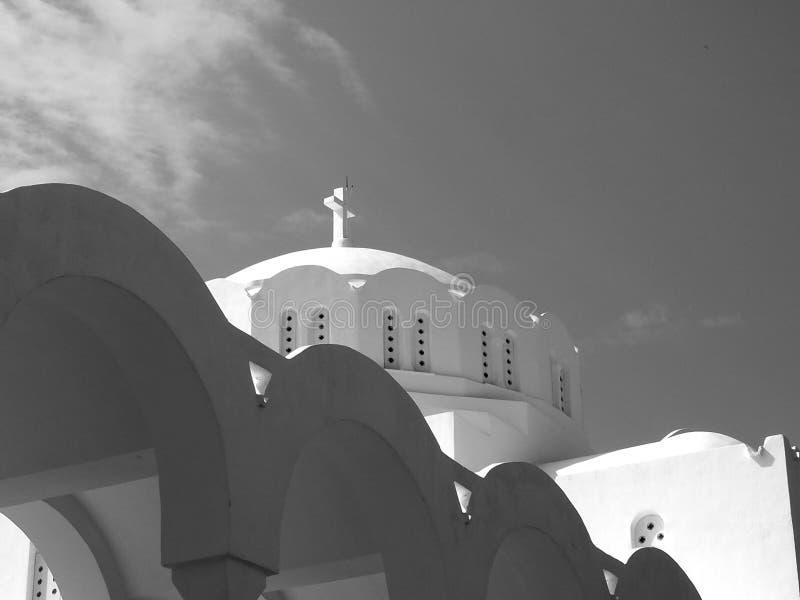 Catedral metropolitana ortodoxa en Fira Santorini Grecia foto de archivo libre de regalías