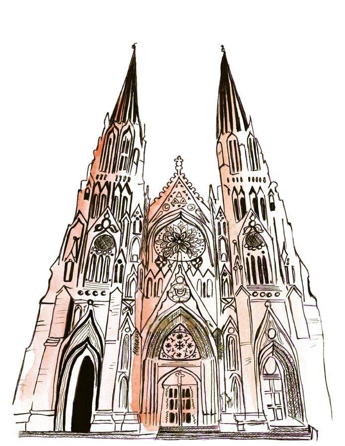 Catedral mundial conocida ejemplo del ` s de St Patrick ilustración del vector