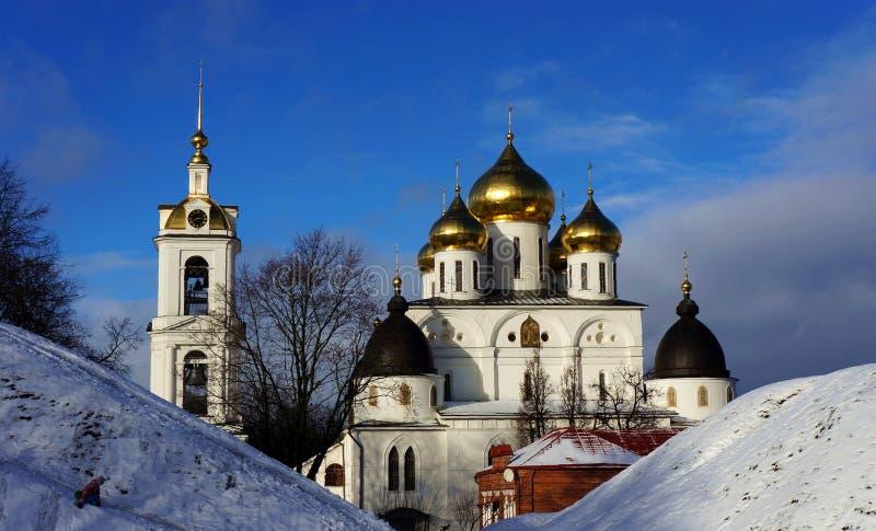 Catedral na fortaleza da cidade em Dmitrov fotos de stock