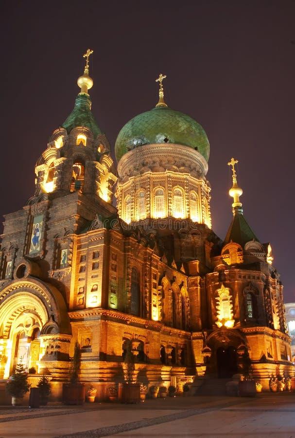 Catedral na noite fotos de stock royalty free