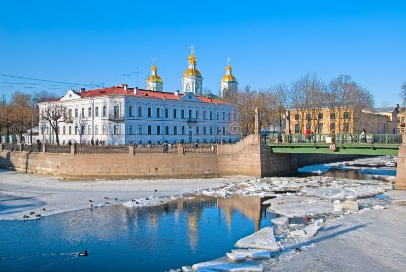 Catedral naval de São Nicolau St Petersburg Rússia fotos de stock