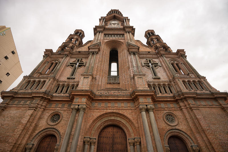 Catedral no centro de cidade de Palmira Colombia fotografia de stock