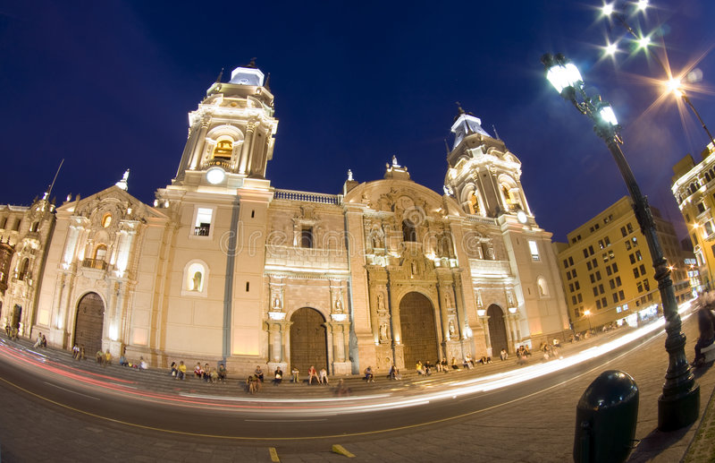 Catedral no mayor Lima peru da plaza de plaza de armas fotografia de stock royalty free