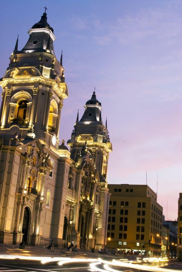 Catedral no mayor Lima peru de plaza de armas imagem de stock royalty free