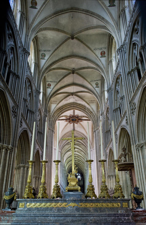 Catedral Notre Dame en Bayeux fotografía de archivo