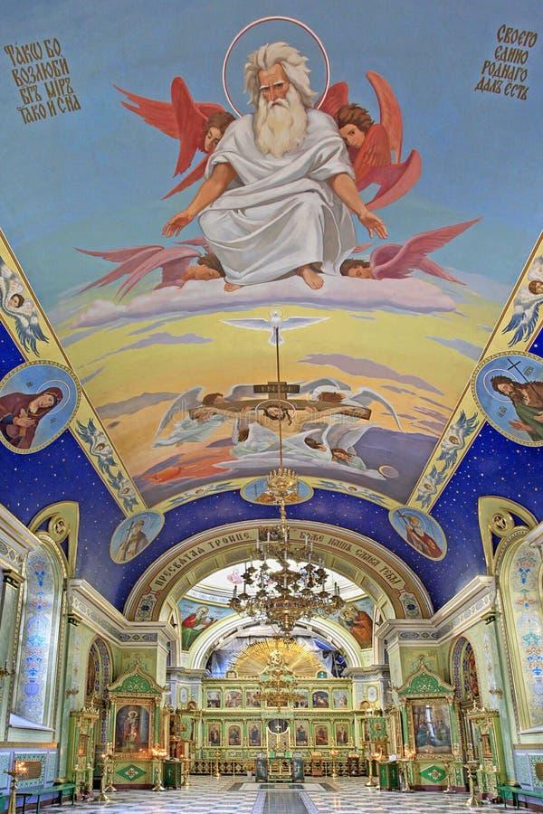 Catedral ortodoxa de la trinidad santa. Interior. Odessa, Ucrania imagen de archivo libre de regalías