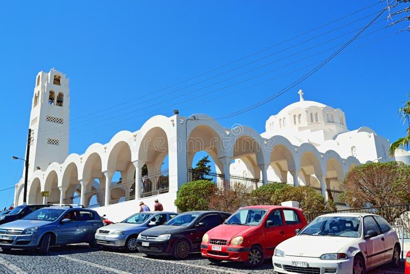 Catedral ortodoxa Fira Santorini Grecia foto de archivo libre de regalías