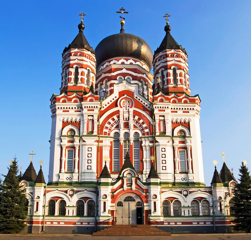 Catedral ortodoxo em Feofaniya imagens de stock
