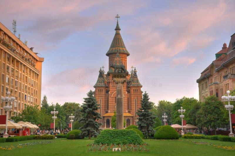 Catedral ortodoxo no quadrado da vitória, Timisoara imagens de stock royalty free