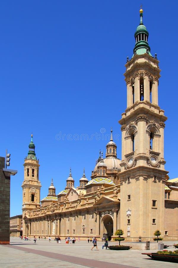 Catedral Pilar do EL na cidade Spain de Zaragoza ao ar livre fotografia de stock royalty free