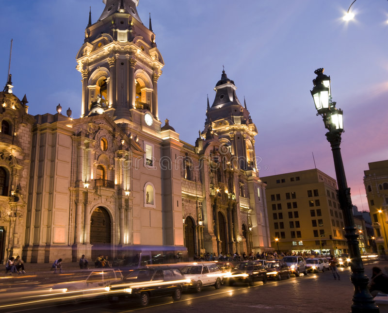 Catedral on plaza de armas plaza mayor lima peru stock images