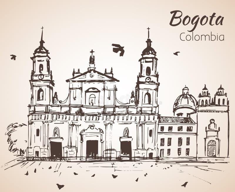 Catedral Primatial de Bogotá esboço ilustração stock