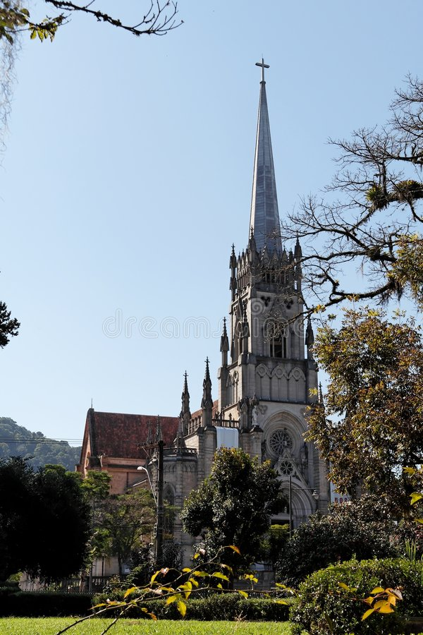 Catedral principal em Petropolis imagens de stock