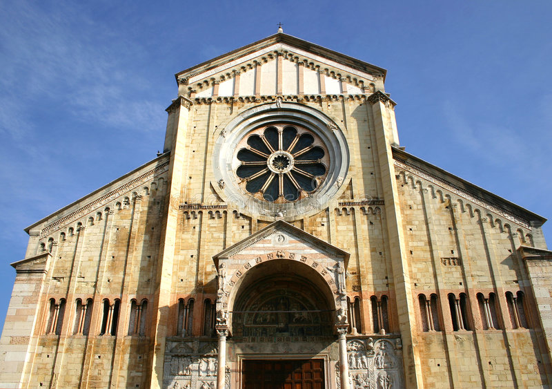 Catedral romance de Zan Zeno en Verona, Italia fotos de archivo