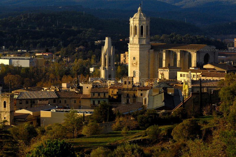 263 Catedral and Sant feliu chuch, Girona, Spain royalty free stock images