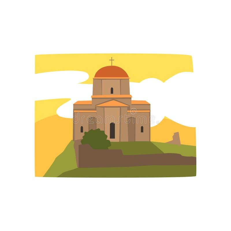 Catedral santamente da trindade de Tbilisi Igreja ortodoxa Georgian Construção histórica de Geórgia Arquitetura religiosa liso ilustração stock