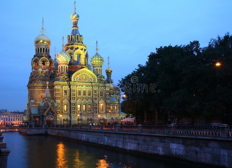 catedral Termas-na-krovi. St Petersburg fotos de stock
