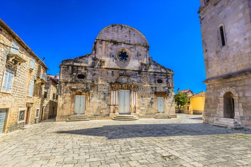 Catedral vieja en Starigrad, isla Hvar fotos de archivo libres de regalías