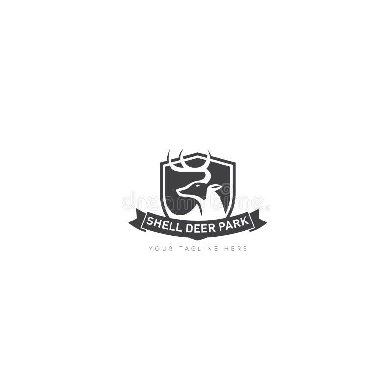 Categoría animal para el parque Logo Design del escudo libre illustration