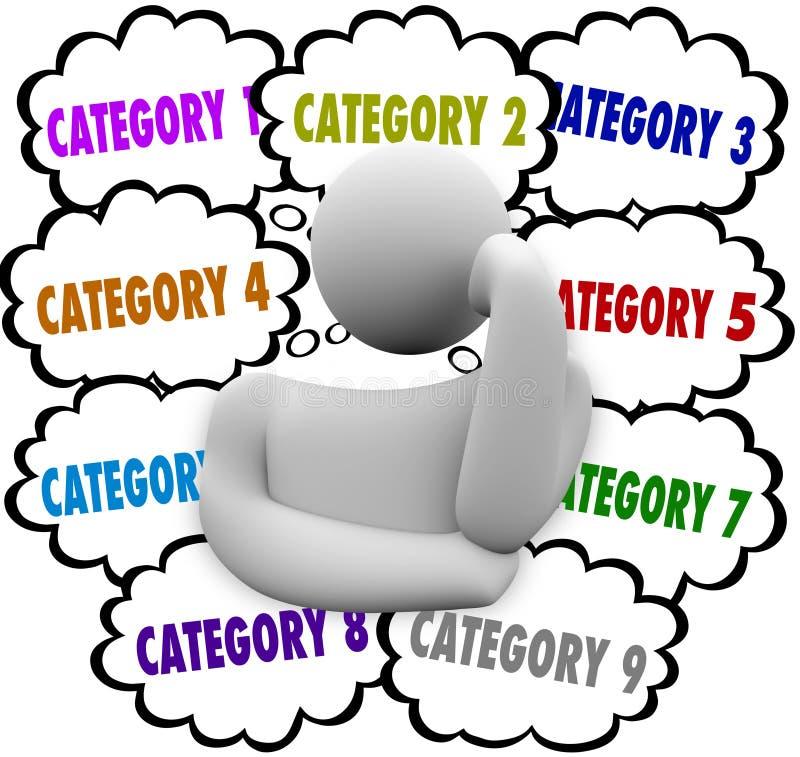 A categoria organiza trabalhos de controlo das tarefas das ideias do pensador dos pensamentos ilustração royalty free
