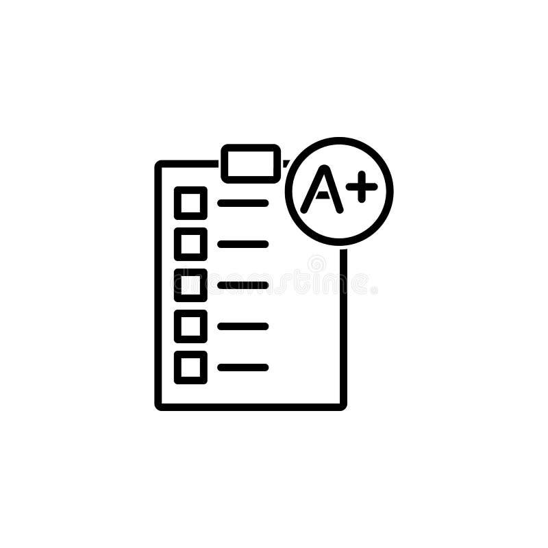 Categoria perfeita em um ícone do teste em papel ilustração stock