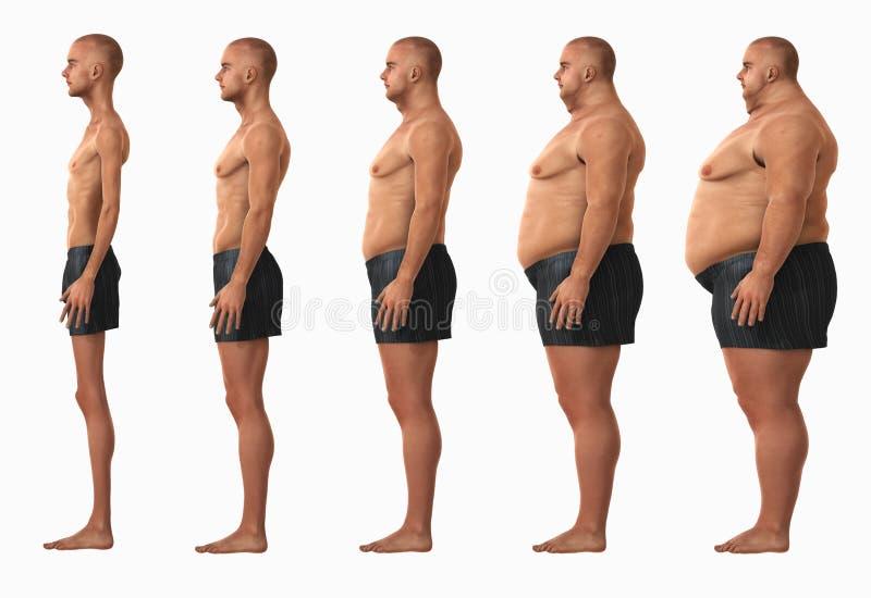 Categorie dell'indice di massa corporea BMI dell'uomo immagini stock