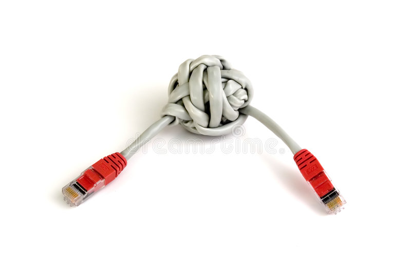 Category 5 twisted pair cable knot. Two ends royalty free stock photography