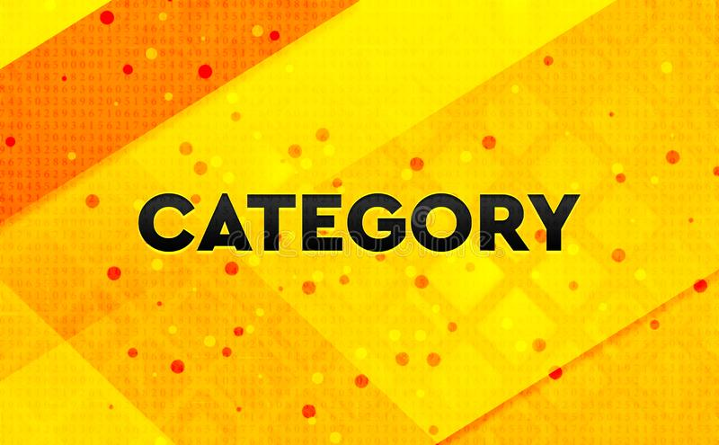 Category abstract digital banner yellow background. Category isolated on abstract digital banner yellow background stock illustration