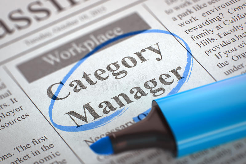 Category Manager Wanted. 3D. Category Manager - Jobs in Newspaper, Circled with a Blue Highlighter. Blurred Image. Selective focus. Concept of Recruitment. 3D royalty free stock photo