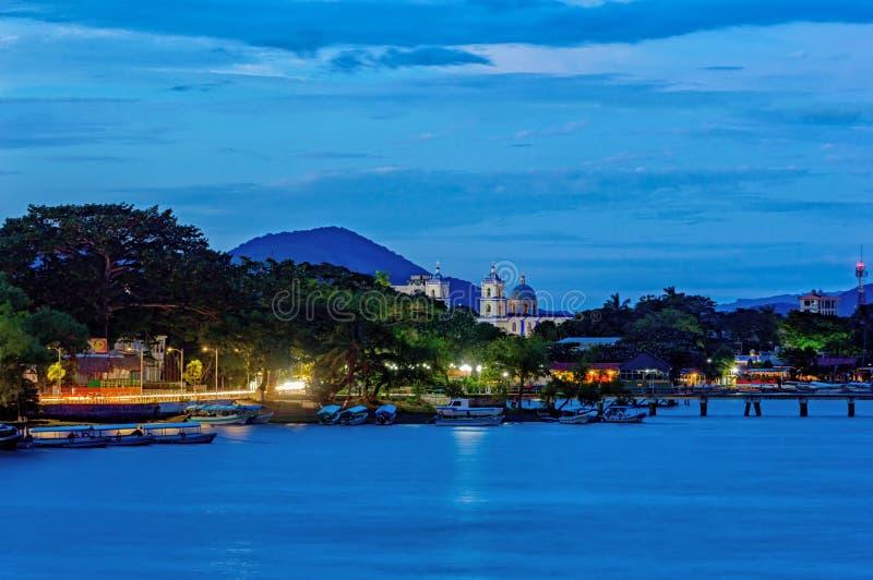 Catemaco Veracruz skymning arkivfoton