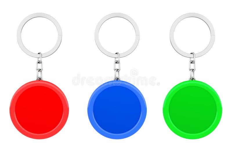 Catena chiave del metallo rotondo multicolore in bianco con i portachiavi a anello 3d rendono royalty illustrazione gratis