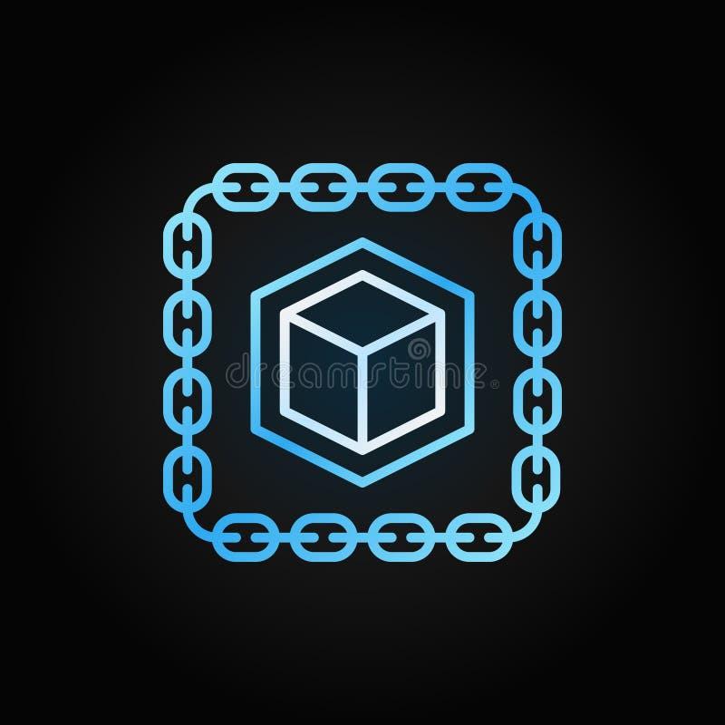 Catena con l'icona della linea blu del cubo Segno del profilo di vettore di Blockchain illustrazione di stock
