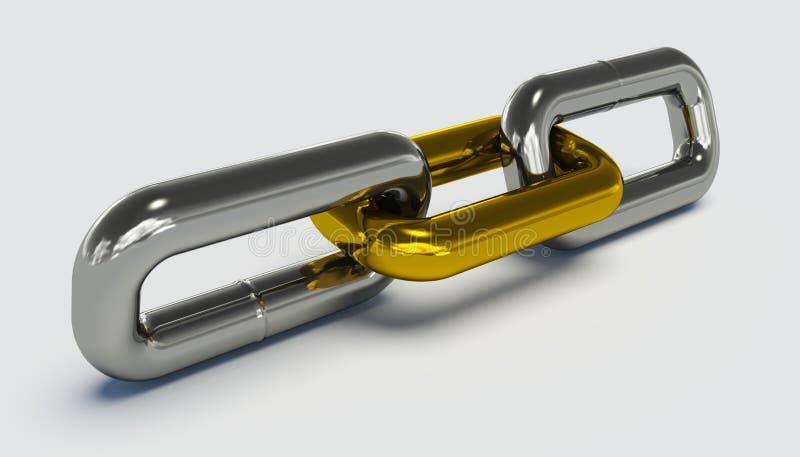 Catena con un collegamento dorato oustanding immagine stock