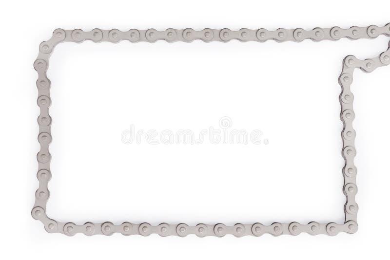 Catena d'argento della bici come struttura isolata con il percorso di ritaglio fotografia stock libera da diritti