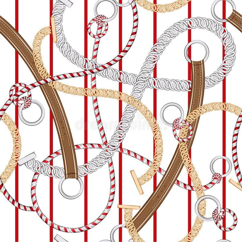 Catena del modello senza cuciture d'avanguardia ed unico, cinghia e corde d'argento di estate sulla banda rossa nel vettore royalty illustrazione gratis